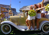…Jackets Cheerleaders and the Ramblin' Wreck lead the team onto the field