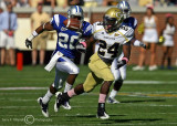Georgia Tech A-back Embry Peeples attempts to catch a pass with MTS S Jeremy Kellem defending…