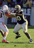 Yellow Jackets DT Barnes takes on a Hurricanes offensive lineman