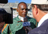 Miami Hurricanes Head Coach Randy Shannon talks with the media after the game