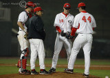 Georgia Coach Perno on the mound to replace P Earls with reliever Stephen Brock