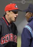 Georgia Bulldogs Head Coach David Perno argues a call