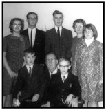 Standing we see: Cindy Lou, Gerald Everett, & John T. Hetrick, standing next to their mother, Louise Pauline [ROBINSON] Hetrick, who is standing next to, Barbara Jean Hetrick. Sitting we see: Rodney, George Raymond, & Gregory A. Mattson.