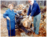 As he was referred by my wife. Above we see, George Raymond Uncle Ray, Mattson, cutting wood with his mother inlaw, Othilla Tillie [HAHN] Robinson, Elsner