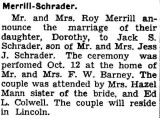 Shown above is the wedding announcement, printed in the Lincoln paper, 30 October 1940.