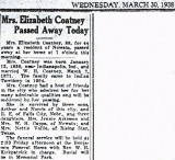Shown above is the obituary printed for, Nancy Elizabeth [Wells] Coatney