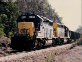 Westbound hoppers at Moss Run