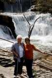 Jeane on the right and me in front of falls