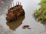 puddles and machinery at Denniston