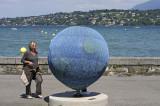 Arya beside blue world, Lake Geneva