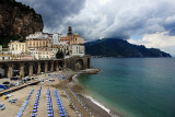 Atrani beach on an overcast day