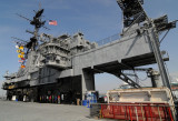 Superstructure with crane and hatch to hangar deck