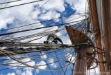 Climbing down the Main Mast