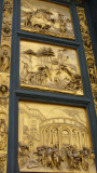 Ghiberti used mathematics to create the illusion of receding distance on a flat surface.