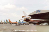 1984 - 11 aircraft used by Air Florida parked at Miami International after they ceased operations