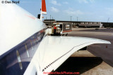 1985 - fuselage and left wing of a British Airways Concorde at Miami International Airport