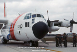 1984 - Coast Guard HC-130H #CG-1703 and air crew at MIA after emergency diversion landing military stock photo #CG8402