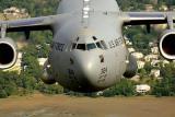 USAF C-17 Globemaster III flying low over the Charleston area