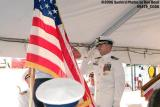 CDR Eduardo Pino saluting VADM Brian D. Peterman at the CGC GENTIAN (WIX 290) decommissioning ceremony stock photo #9479