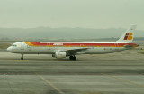 IB A-321 taxi to its gate at cloudy MAD