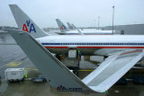 AA tails and winglets in a rainy JFK