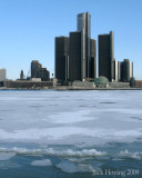General Motors Headquarters, Detroit, Michigan. Viewed from Windsor, Ontario