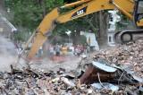 Spectators watching the Fort Loramie school demolition