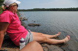 Resting at Lake Richie during our 11 mile hike across Isle Royale