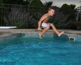 Camden jumping off the diving board