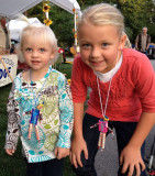 Grace & Macey with their candy-man necklaces