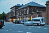 Evening view of the Central Train Station in Kolding, Denmark