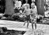 AJ and Alex heading for the pool