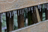 Ice on the deck fence
