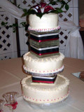 The wedding cake in all it's glory.   Angle Food, Chocolate and Red Velvet!