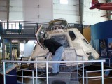 Leslie checking out the Apollo 7 capsule.  Can you imagine 3 people inside there?