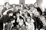 Vidal Sassoon  at the opening of his Hamburg salon in 1976 Karl-Heinz Teuber on the right of the photo.