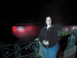 Pam & the falls at night