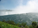 View of the falls, just before the water falls over the cliff