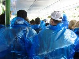 The blue poncho brigade waiting to leave the Maid of the Mist
