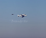 Space Shuttle Endeavour and jumbo jet flying over San Francisco, 9/21/2012