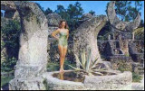1958 - a scene from 'The Wild Women of  Wongo' at the Coral Castle on US 1, Miami