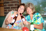 October 2008 - Linda Mitchell Grother and Brenda Reiter enjoying beers with lunch at the last Lums restaurant