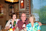 October 2008 - Linda Mitchell Grother, Don and Brenda enjoying some beers and lunch at the last Lums restaurant