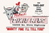Mid 1960's - Postcard ad for Flynn's Dixie Ribs at 15295 S. Dixie Highway, Miami