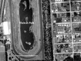 1952 - aerial view of Hialeah Park, E. 4th Avenue, E. 25th Street, Hialeah