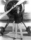 1934 - famed aviation Howard Hughes and his Miami Air Race trophy at Miami Municipal Airport