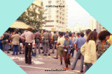 1972 - protesting hippies getting busted after trying to disable a bus on Collins Avenue on Miami Beach