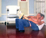 1967 - two Coasties wrestling in the non-rate quarters at CG Station Lake Worth Inlet on Peanut Island