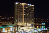 A night time view of the Hilton Hotel from the balcony of our suite at the Omni Hotel, San Diego, landscape stock photo #3013