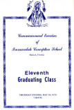 1970 - Immaculate Conception School 11th Graduating Class program